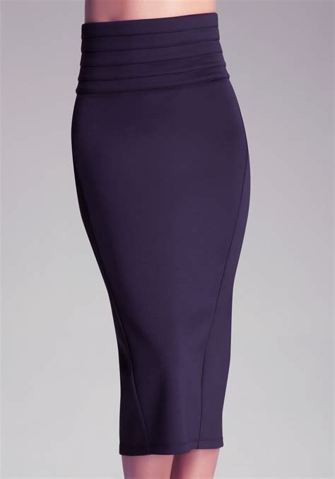 bebe high waist midi skirt in purple lyst