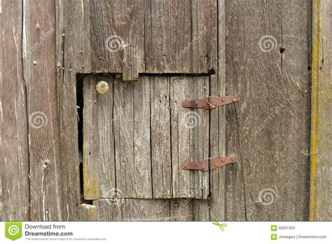 Small Barn Door Hardware Door In Barn Wood With Hinges And Knob Stock Photo Image 56331350