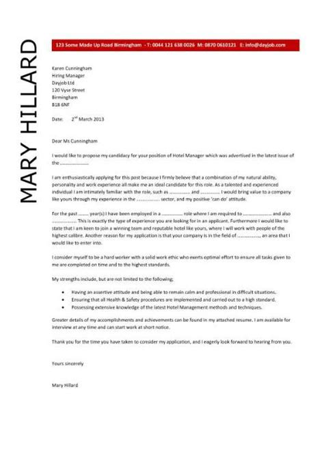 cover letter for hotel hotel manager resume template