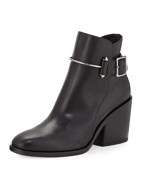 balenciaga leather chunky heel ankle boot in black lyst