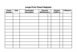 Bank Register Template by Sle Check Register 6 Documents In Pdf Word