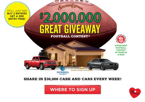 Station Casinos Great Giveaway - are you playing in station casinos great giveaway football contest this year