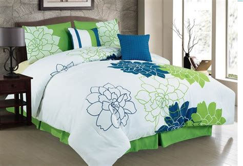navy and white bedding high quality white green and navy blue flower pattern