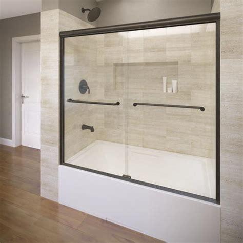 glass shower doors menards basco infinity 4400 frameless sliding tub enclosure 1 4 quot glass at menards 174