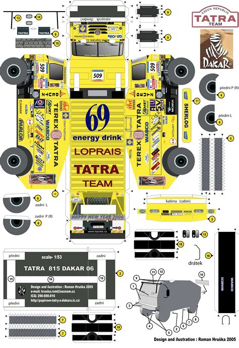 Free Papercraft Downloads - new paper craft dakar 2006 tatra 815 truck paper model