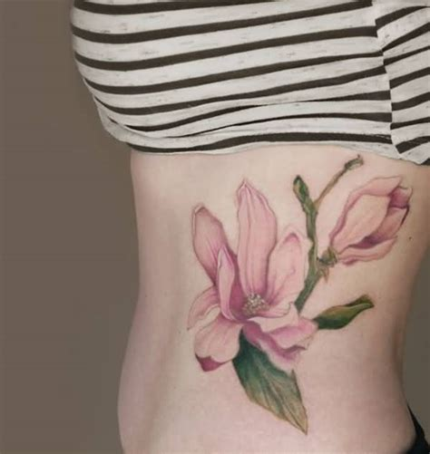 girl side tattoo designs bow and owl on side rib