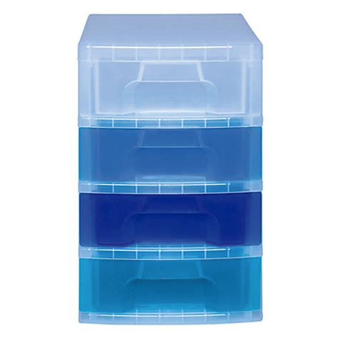 Really Useful Drawer Tower by Really Useful Box Tower Drawer 4 Drawers 7 Liters 18 H X 15 34 W X 12 D Clear Blue By Office