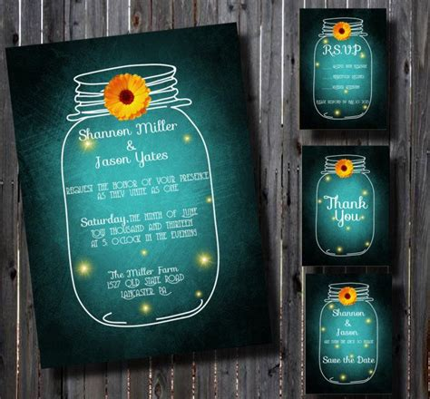 diy printable wedding invitation suite country mason jar