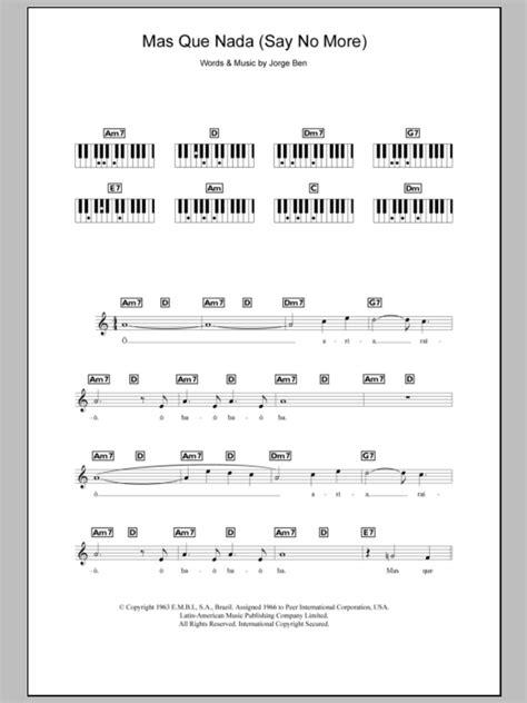 piano tutorial mas que nada mas que nada say no more sheet music direct