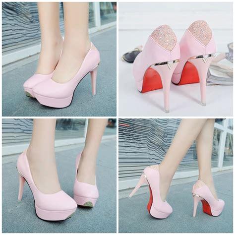 Wedges Pink Cantik jual shh698 pink sepatu heels cantik 10cm
