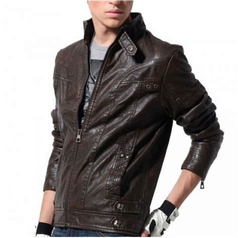 motorcycle style leather jacket stand collar black full sleeves leather biker jacket for