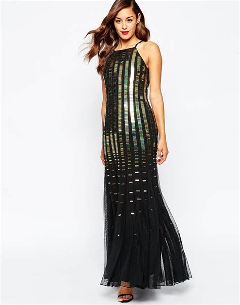 Fladea Maxy lyst asos holographic fit and flare maxi dress black in black