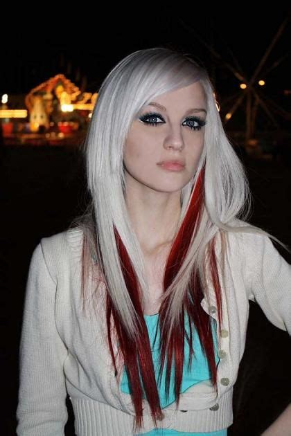brunette to platinum streaks platinum blonde hair with red streaks hairstyles for