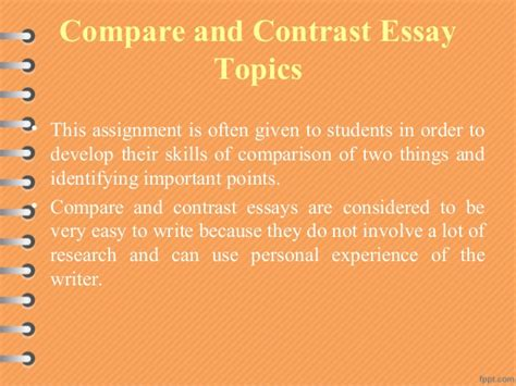 Topics For A Comparison Essay by Comparison Contrast Essay Topics