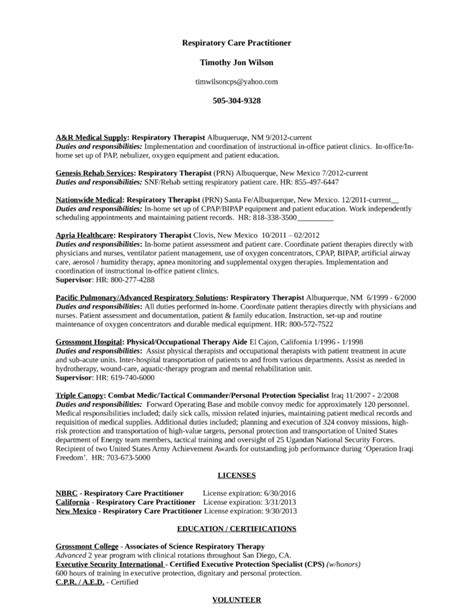 Respiratory Technician Sle Resume by Respiratory Therapist Resume Exles Resume Ideas