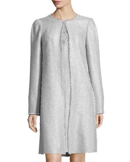 long swing coats kay unger new york tweed long swing coat sleeveless lace