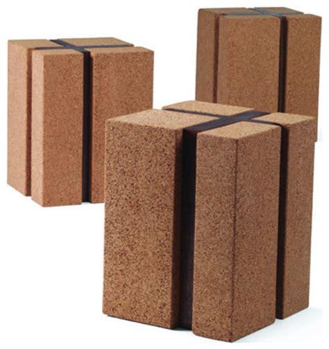 cork ottoman skram cork cube modern stool contemporary outdoor