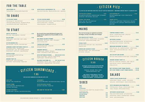 menu design glasgow the citizen glasgow glasgow restaurant reviews