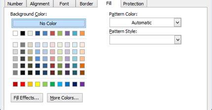 pattern fill adalah fungsi tab fill dan protection di excel sul ilmu