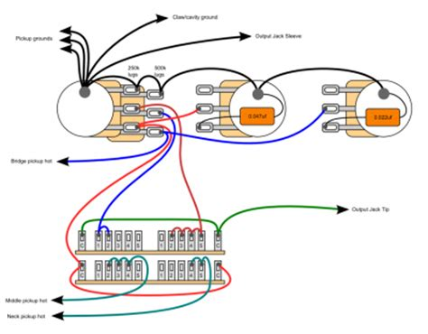 stacked guitar potentiometers wiring guitar bridge wiring