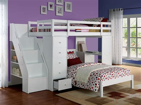 White Loft Bunk Bed 37145 Bunk Bed Freya White Loft Bed With Bookcase Ladder W Bottom Bed