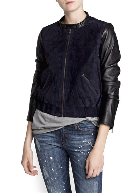 Bomber Kombi 1 lyst mango combi leather bomber jacket in blue