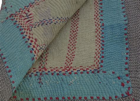 Kantha Quilt by Vintage Kantha Quilt Purple And Turquoise Omero Home