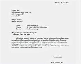 contoh surat izin cuti melahirkan letter