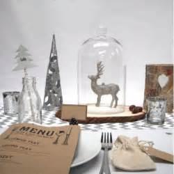 decoration table noel argent et bois