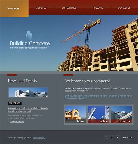 Construction Company Flash Template 19268 Construction Website Templates
