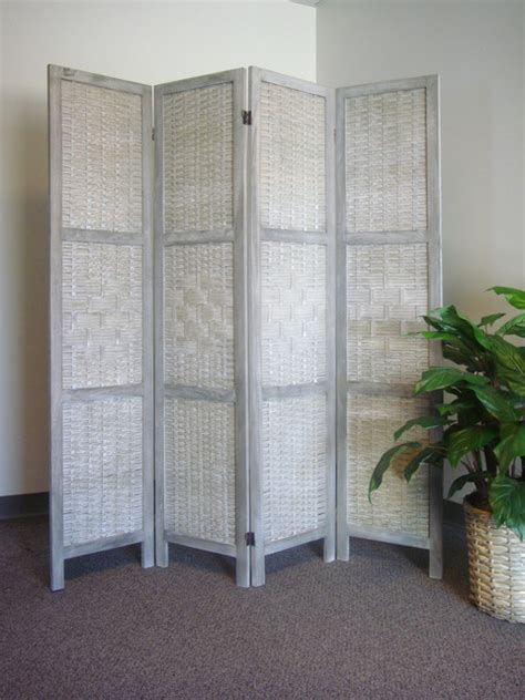 folding 4 panel room divider screen privacy wall movable saigon folding screen with woven bamboo panels asian