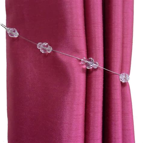 pair of clear glass beaded curtain tiebacks buy pair of