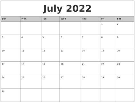 printable july weekly calendar july 2022 monthly calendar printable