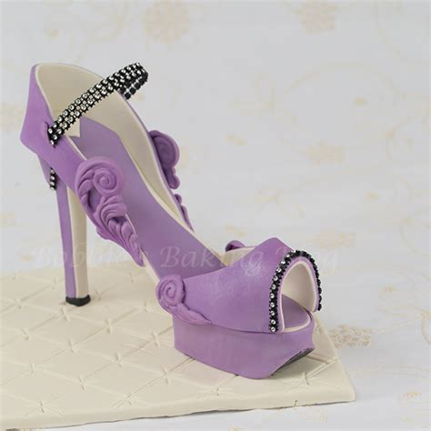 purple passion fondant high heel shoe with template by