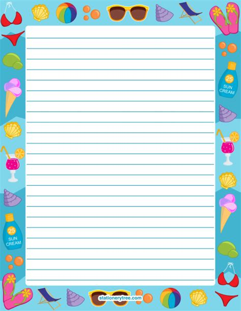 summer writing paper template printable summer stationery and writing paper