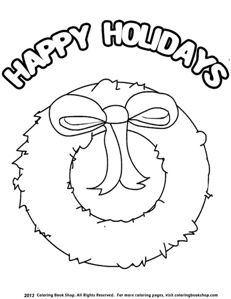 happy holidays coloring book for adults a coloring book with and designs for relaxation and stress relief santa coloring books for grownups volume 60 books winter printable coloring page happy holidays wreath