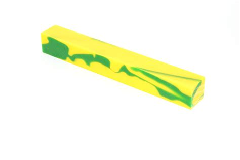 Yellow And Green Acrylic Pen Blank