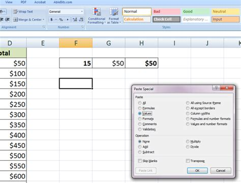 format excel column excel vba pastespecial format link how to copy paste for