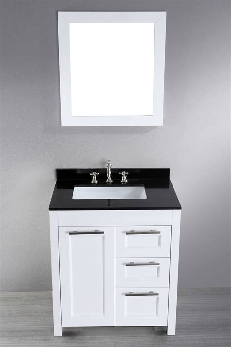 30 Inch White Bathroom Vanity 30 Inch White Contemporary Single Bathroom Vanity Black Granite Top