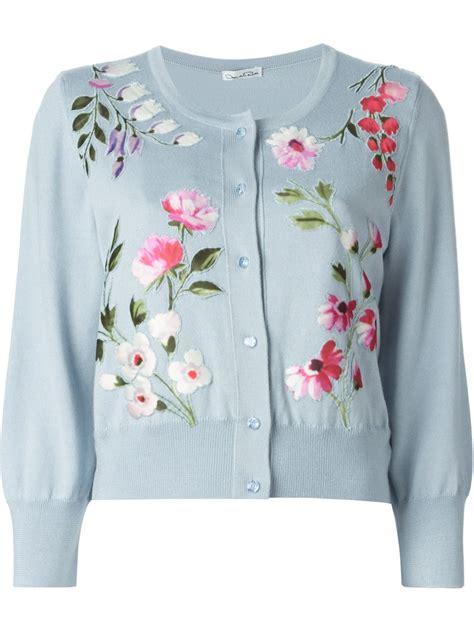 lyst oscar de la renta floral embroidered cardigan in blue