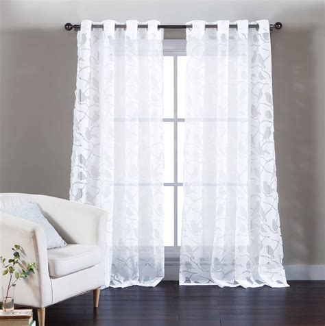 sheer white cotton curtains single white cotton blend sheer curtain panel burnout