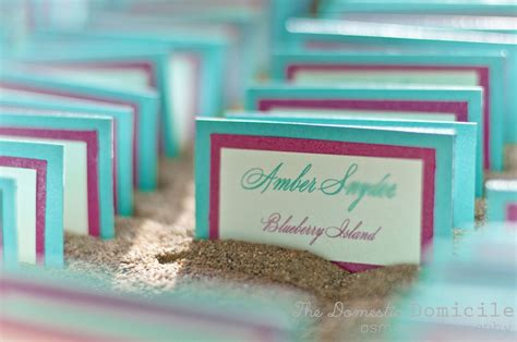 diy place cards in sand wedding aqua blue diy old barn