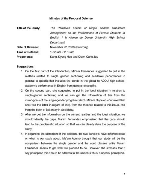 Minutes Of The Proposal Defense