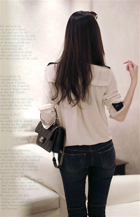 baju kemeja wanita sifon coklat model terbaru jual murah import kerja