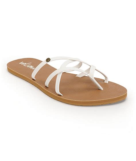 volcom new school sandals volcom new school white brown sandals