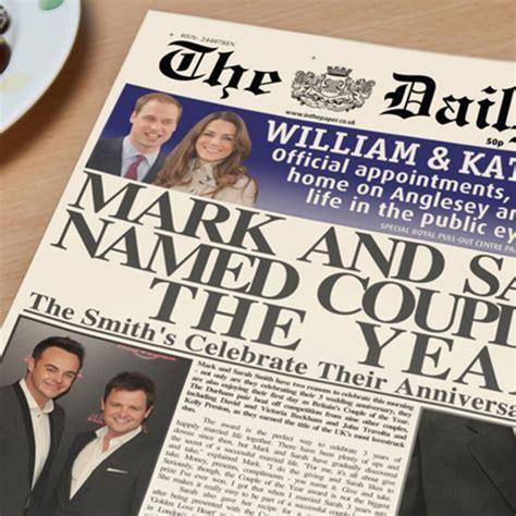 Personalised Newspaper   Anniversary   GettingPersonal.co.uk