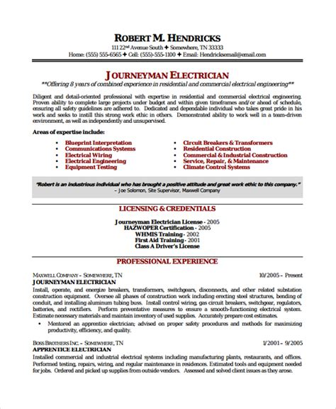 Electrician Helper Resume by Sle Electrician Resume Template 7 Free Documents In Pdf Word