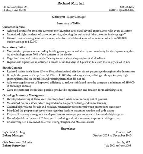 cover letter exles for bakery bakery manager resume sle http resumesdesign