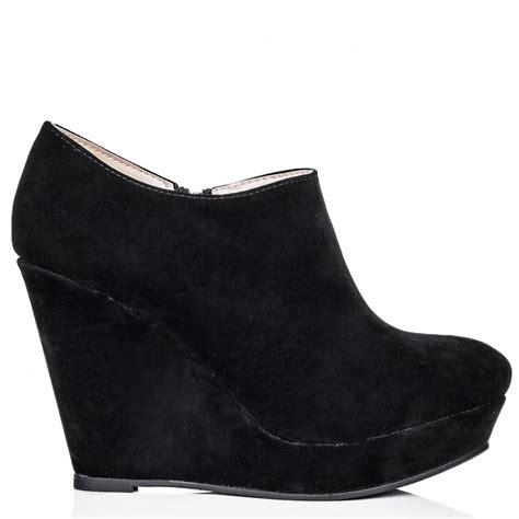 buy womens black suede style wedge heel platform ankle