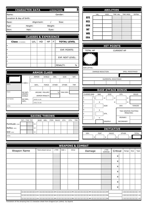 dnd templates show your character sheet designs